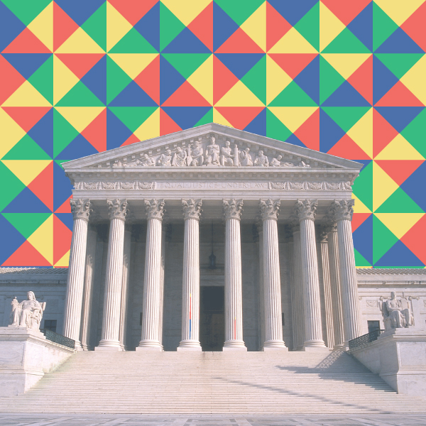 Photo of the Supreme Court Building with a rainbow mosaic background